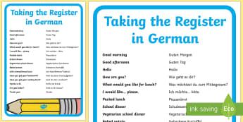 Taking the Register A4 Display Poster - School, German, Schule, Register ,German