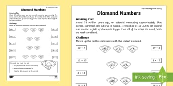 Diamond Maths Activity Sheet - Amazing Fact Of The Day, activity sheets, powerpoint, starter, morning activity, February, number bo