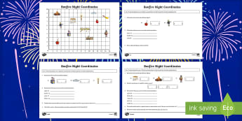 Year 4 Bonfire Coordinates Activity - year 4, bonfire night, bonfire, coordinates, activity
