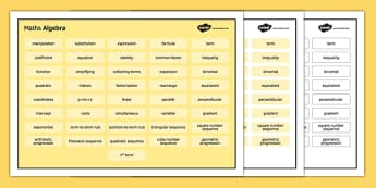 KS3 Maths Word Mat Algebra - KS3, KS4, GCSE, Maths, keywords, vocabulary, revision, algebra
