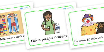 Phase 4 Sentences And Pictures Display Posters - sentences and pictures, sentences, pictures, phase 4 phase four, display posters, powsters, signs, activity, matching, match