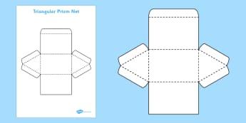 3D Net for Triangular Prism - triangular prism, net, shape, 3D, 3D shape, net, triangular prism