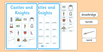 Castles and Knights Vocabulary Matching Mat - castles and knights, vocabulary, matching mat, word mat, vocabulary mat, vocab mat, keyword, key word mat