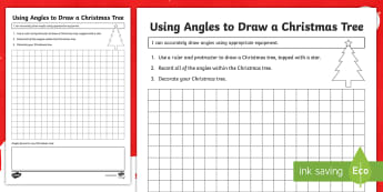 Using Angles to Design a Christmas Tree Activity Sheet - Second level, shape position and movement, protractors, Xmas, angels, worksheet