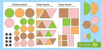 2D Shape Animals Activity Sheets