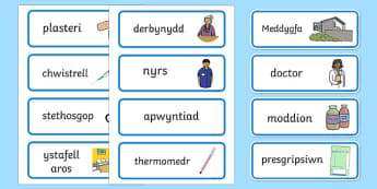 Doctor's Surgery Labels Welsh - welsh, cymraeg, Doctors surgery role play, doctor, nurse, surgery, role play, doctors role play, people who help us role play, people who help us, Display signs, display, labels