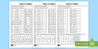 Year 6 Mean in Maths Differentiated Activity Sheets - Year 6, Y6, Calculate and interpret the mean as an average, year 6, Statistics, Handling Data