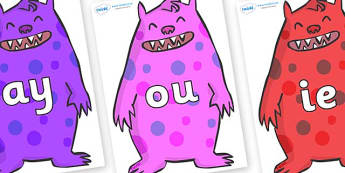 Phase 5 Phonemes on Monsters - Phonemes, phoneme, Phase 5, Phase five, Foundation, Literacy, Letters and Sounds, DfES, display