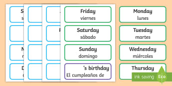 Days of the Week & Months of the Year Labels English/Spanish - Months of the year, calendar, months, days, date display, calandar, days of the wek, days pf the wee