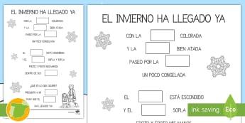 Rima: Ficha de leer y dibujar  - Invierno, estaciones, proyectos, lectura, memoria, poesías, rimas