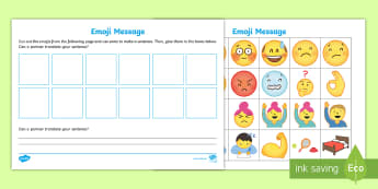 KS1 Emoji Message Worksheet / Activity Sheet - the big draw, drawing, communication, picture messaging, y1 and Y2, worksheet