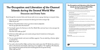 The Occupation and Liberation of the Channel Islands During the Second World War Activity Sheet, worksheet