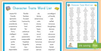 Character Traits Display Poster - Character Analysis, Vocabulary, key words, character development, work on writing, writer's worksho