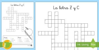 Crucigrama: La letra Z y C - juego lectoescritura, juego lecto, juego didáctico, lecto, sonidos, lecto-escritura, fonemas, sonid