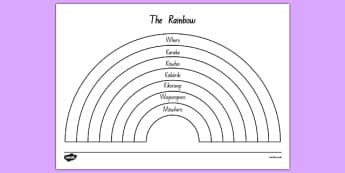 The Rainbow Colours Colouring Sheet Māori - colour, colouring, te reo, nz, new zealand, rainbows, art, design
