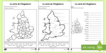 Feuille d'activités différenciées : La carte des villes de l'Angleterre - Géographie, geography, KS2, cycle 2, cycle 3, carte, map, Angleterre, England, ville, town , city,F