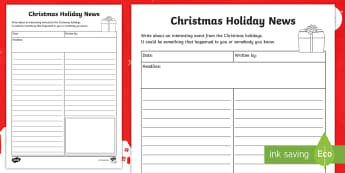 My Christmas Holiday News Activity - writing, Morning Task, News Report, Holidays, Xmas, Newspaper, Homework, Extended Learning Task