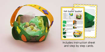 Felt Easter Baskets Craft Instructions - easter, basket, craft
