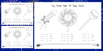 Guy Fawkes Night 2D Shape Search Worksheet / Activity Sheet