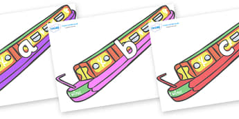 Phase 2 Phonemes on Narrow Boats - Phonemes, phoneme, Phase 2, Phase two, Foundation, Literacy, Letters and Sounds, DfES, display