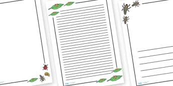 Ladybird Life CyclePage Borders - Ladybird, life cycle, Minibeasts, Page border, border,  KS1, writing Borders, Foundation stage, knowledge and understanding of the world, living things, snail, bee, ladybird, butterfly, spider