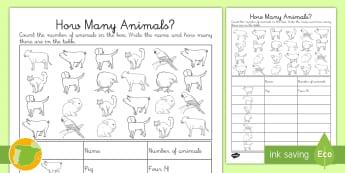 A1 Ficha de actividad: ¿Cuántos animales hay? en inglés - animals, lengua extranjera, inglés, english, farm, granja,Spanish-translation