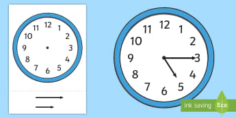 Blank Analogue Cut-Out Clocks (with hands) - ESL Telling the Time Resources