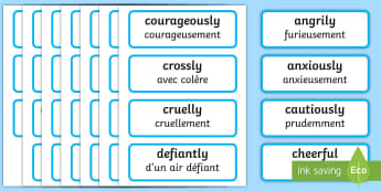 Adverb Word Cards English/French - literacy, english, visual aid, EAL French, translation