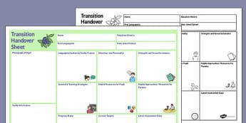 EAL Transition Handover Sheet to a New Class - eal, transition