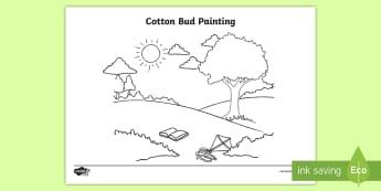 Cotton Bud Painting Activity Sheet - dots, paint, art, pointillism, pop art, worksheet, painting sheet