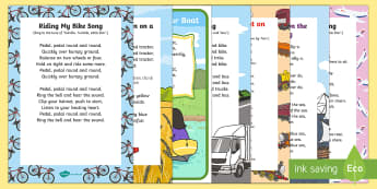 Transport and Travel Songs and Rhymes Resource Pack - Transport and Travel, car, boat, train, vehicles, singing, song time,  travel, transport, ship, bus,