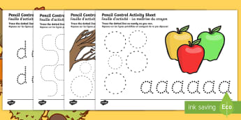 Autumn and Harvest Themed Pencil Control Activity Sheets English/French - autumn, harvest, pencil control,motor skills, EAL French, Worksheets