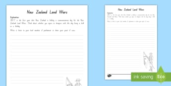 Should the New Zealand Land Wars Commemoration Day be a Holiday? Persuasive Writing Activity - land wars, commemoration, commemoration day, new zealand, Māori, british, war