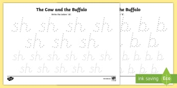 The Cow and the Buffalo Pencil Control Activity Sheets - Traditional, Thai Tales, Thailand, story, stories