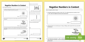 Grade 6 Use Negative Numbers in Context 2nd Worksheet / Activity Sheet - Math, Money, Negative Numbers, Money, Temperature, Grade 6, Junior, Addition, Subtraction, measureme