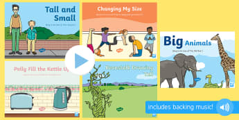 Height, Length, Weight, and Capacity Songs and Rhymes PowerPoints Pack - Maths, Mathematics, Size, Sensory Play, heavy, light, high, low, wide, thin, full, empty, shape spac