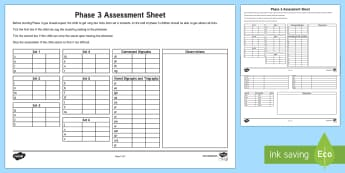 Phase 3 Phonics Letters and Sounds Assessment Sheets - phase 3, letters and sounds, DFE, phonics assessment, letters and sounds assessment, phase 3 anaylsis sheet, literacy, phonics, planning and assessment, checklists