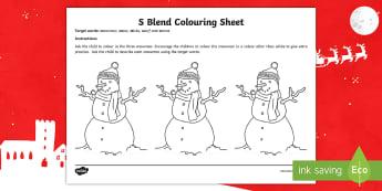 S Blend Colouring Activity Sheet - s blends, sentence level, generalisation, sen, SALT, worksheet