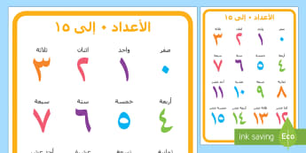 ملصق الأعداد من 0 إلى 15 - الأعداد، العدد، أرقام، رياضيات، حساب، عربي، ملصق، الع
