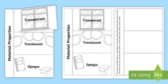 Transparent, Translucent and Opaque Flaps Writing Frames - ACSSU080, Material properties, see through, light, ACSSU074,Australia