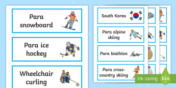 Winter Paralympics Visual Word Cards - south korea, snow sports, competitive events, SEN, language development, PyeongChang, vocabulary, su