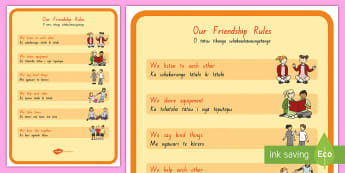 Our Friendship Rules A4 Display Poster - whanau, hoahoa, panui,