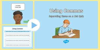 Using Commas to Separate Items on a List Quiz PowerPoint - commas, powerpoint, english, punctuation