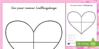 Valentinstag Herz Karte  Aktiwiteit - DE Valentinstag, Beschreibungen,Schreiben,Feste und Feiern, Herz, Herz Arbeitsblatt, Valentinstag Ar