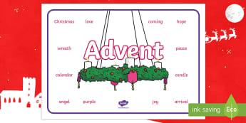 Advent Word Mat - Christmas, seasons, winter, religion, Christianity, events, celebration,Scottish