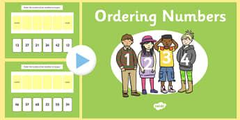 Ordering 2 Digit Numbers PowerPoint - ordering, 2 digit, numbers