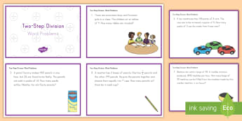 Two-Step Division Word Problem Math Challenge Cards - math, challenge cards, division, two-step