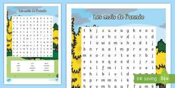 Mots mêlés - Les mois de l'année - Mois, months, year, année, an, cycle 2, écriture, écrit, lecture, mots mêlés, word search, spel