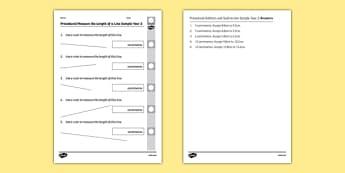 Procedural Measure the Length of a Line Sample Year 2 - welsh, cymraeg, Measuring a line, Procedural Test, Year 2, Wales
