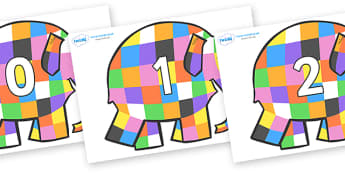 Numbers 0-31 on Elmer to Support Teaching on Elmer - 0-31, foundation stage numeracy, Number recognition, Number flashcards, counting, number frieze, Display numbers, number posters